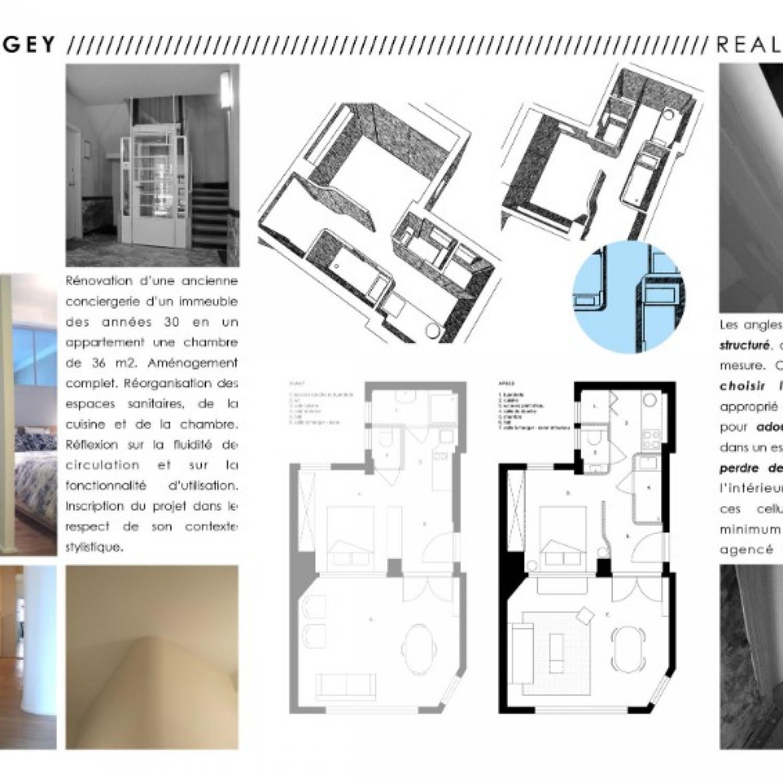 Transformation complète d'une conciergerie en petit appartement  - sur mesure