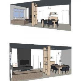 Organisation d'une pièce de vie - salon et salle à manger / mobilier sur mesure